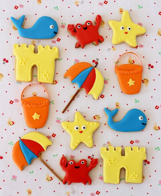 Postreadicción galletas decoradas, cupcakes y pops: Galletas decoradas de verano