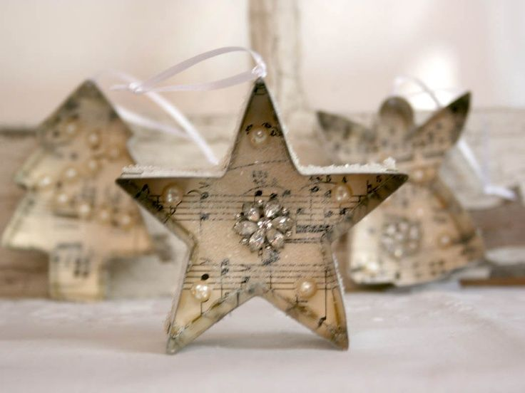 images of ornament cookies | Christmas Ornament - cookie cutter vintage sheet music jewelry glitter ...
