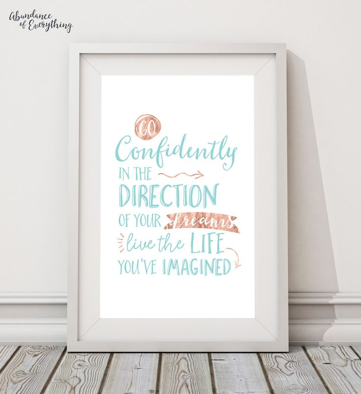 Go Confidently In The Direction Of Your Dreams - Digital Wall Art Print, Printable, Gallery Wall Art, Turquoise, Rose Gold, Foil, Arrows by AbundanceEverything on Etsy