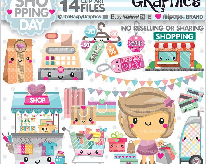 Shopping Clipart, Shopping Graphics, COMMERCIAL USE, Shop Graphics, Planner Accessories, Shopping Girl, Store, Shopping Day
