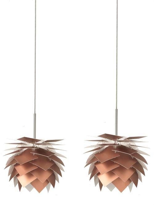 PineApple lampe kobber - fås som pendel og bord- & gulvlampe