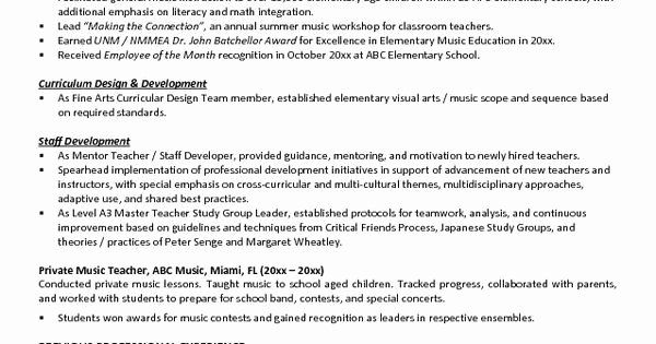 Music Teacher Resume Examples Fresh Music Teacher Resume Example Teacher Resume Examples Teacher Resume Resume Examples