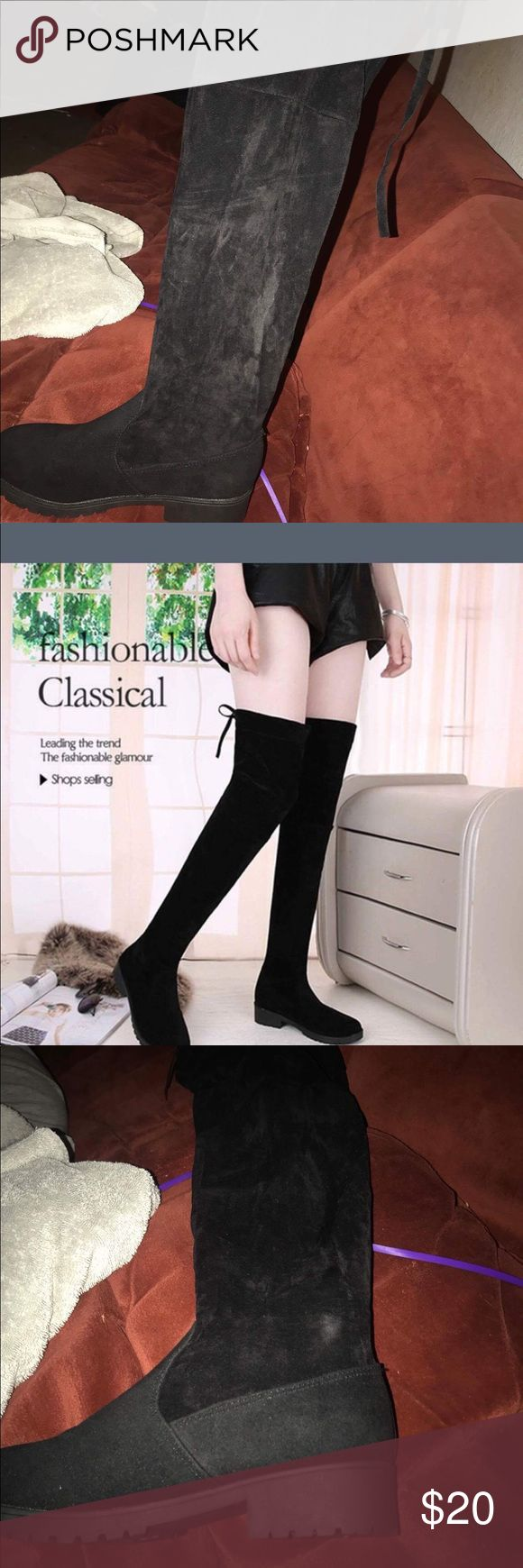 All black knee high boots All black knee high boots, size 9 but fits like an 8 brand new never worn Glamour & Co. Shoes Winter & Rain Boots