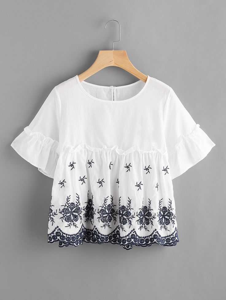 Shop Frilled Trumpet Sleeve Embroidered Smock Top online. SheIn offers Frilled Trumpet Sleeve Embroidered Smock Top & more to fit your fashionable needs.