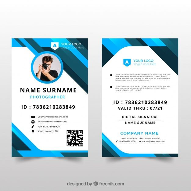 Id Card Template With Flat Design Id Card Template Identity Card Design Card Template