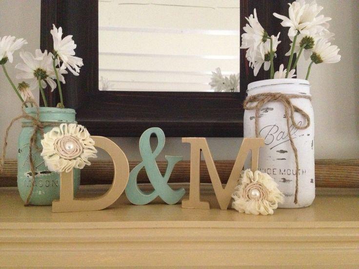 Shabby Chic Wedding Decor - Distressed Wood Monograms and Mason Jars. $40.00, via Etsy.
