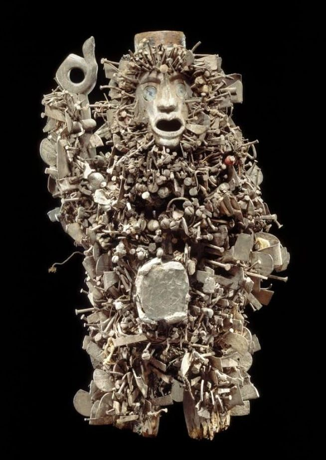 Africa | Power figure from the Kongo people of Bas-Congo, DR Congo | Wood, metal and glass | ca. first half 20th century