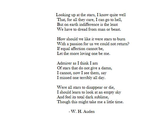 Let the more loving one be me. WH Auden.