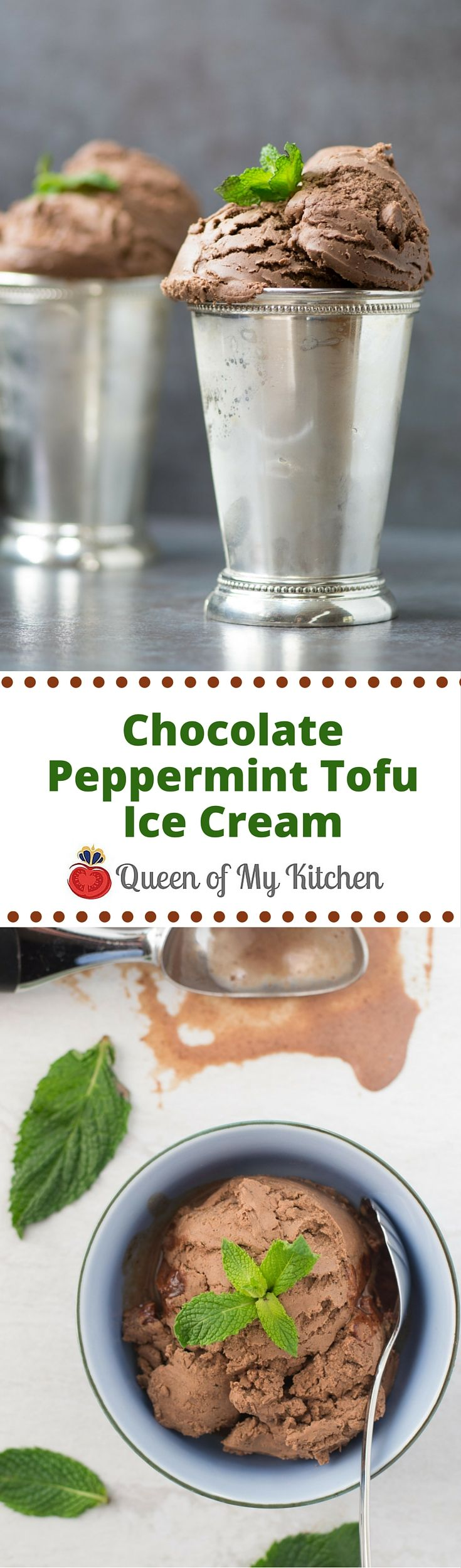 Chocolate Peppermint Tofu Ice Cream is vegan ice cream that tastes like a frozen thin mint cookie. Made with tofu and almond milk.