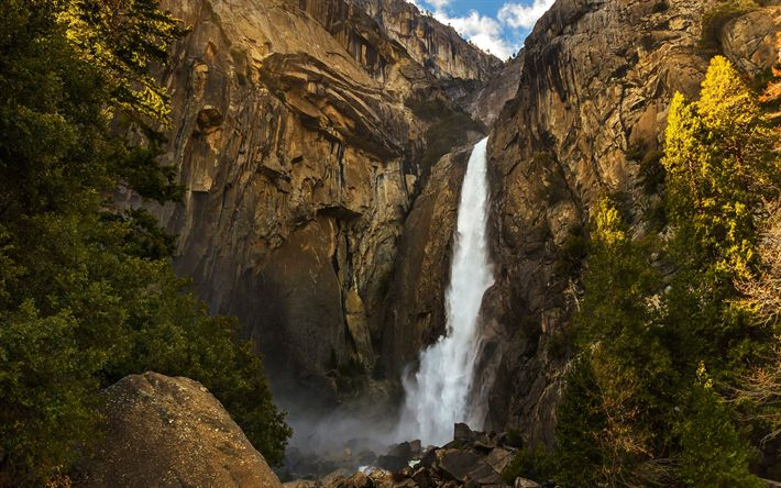 Download wallpapers Yosemite National Park, mountains, forest, waterfall, Sierra Nevada, USA, America