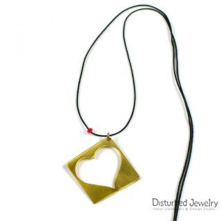 14K Yellow Gold Plated Sterling Silver 925 Handcrafted Heart in a Box Pendant