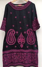 MONSOON noir/magenta brodé/embelli paisley robe. taille 14