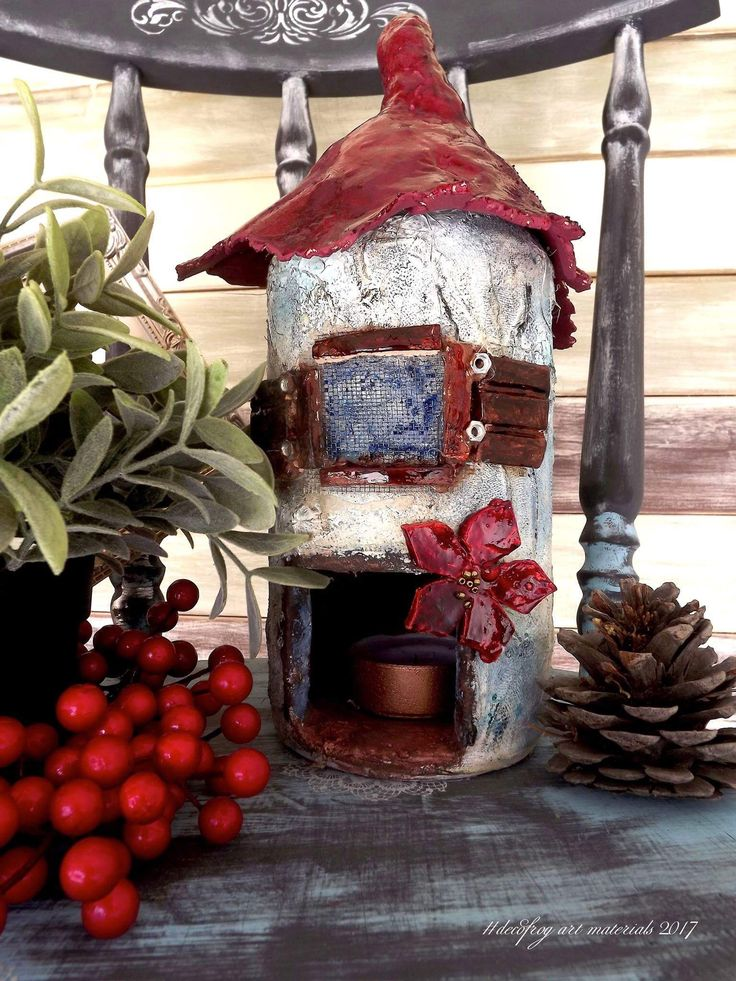 Christmas house with clay #decofrog art materials