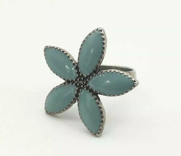Vintage Big Metal London Ring Turquoise Tone Flower Design Size P Turquoise Rings London Rings Silver Tone Metal