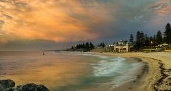 Stock photography Perth WA. View of the Indiana Tea house and Cottesloe Beach, Perth. Search FAR-0007219 © WestPix.