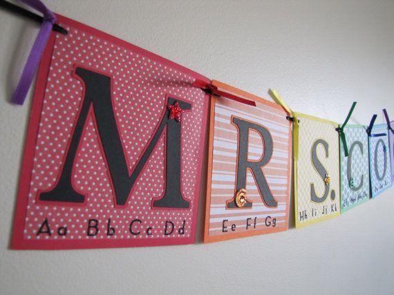 Teacher Name Banner Back to School Custom Banners by MeadowsBrook
