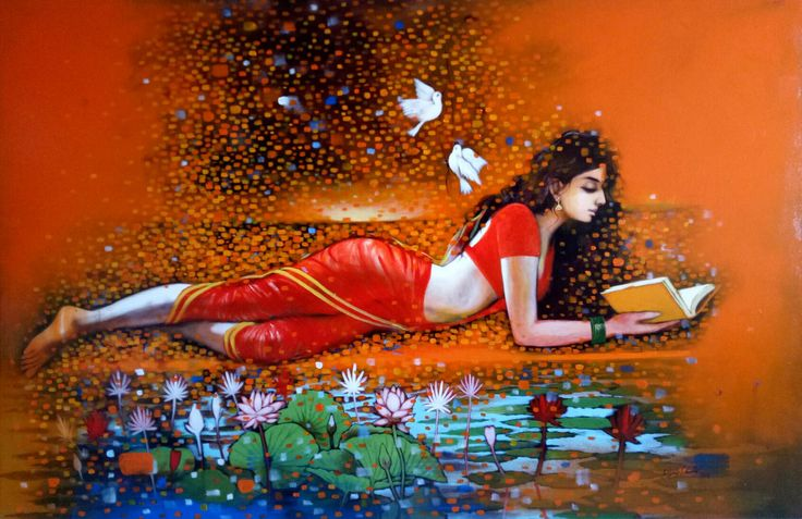 https://flic.kr/p/PCFrYr | Sultry Traditional Indian Girl In Red Saree | Indian girl painting today is moving rapidly to ward maturity. This adds a royalty to your home. www.artbugs.in/indian-woman-handpainted-art-painting