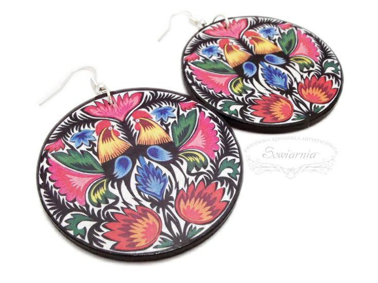 Decoupage folk earrings
