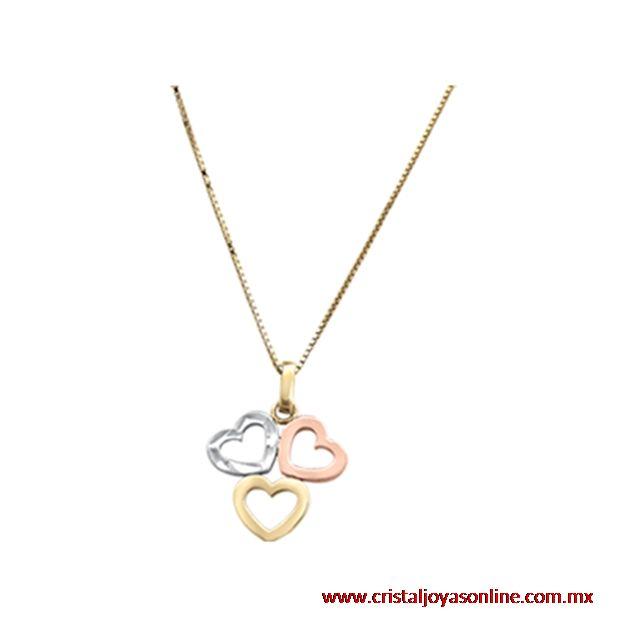 4fdb5a161924 Dije con diseño de tres corazones oro amarillo + oro rosa + oro blanco 14k  con cadena oro amarillo 14k