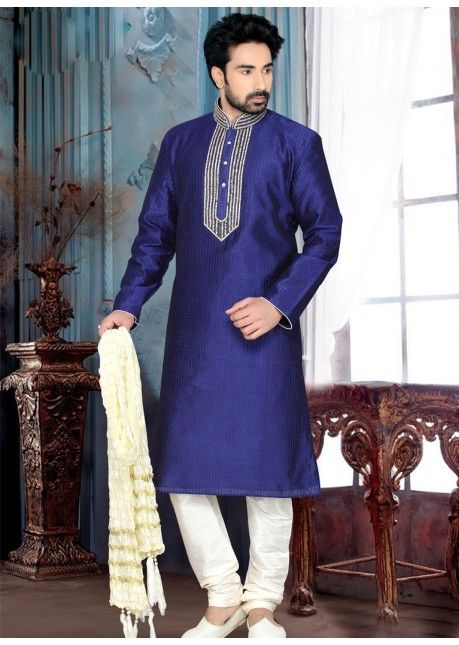 Auspicious Blue Colored Embroidered Art Silk Kurta Pajama Without Dupatta  Product Code: TSMKE1939 Collection: Gentlemen's Garms - 8  Price: Rs.4,428 [After 20% off] USD 69