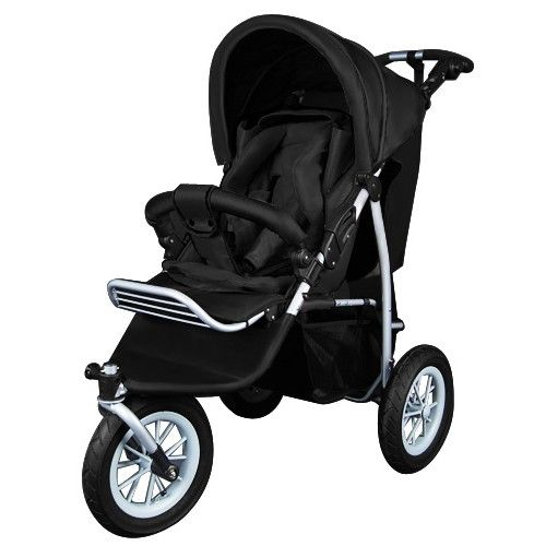 3 Wheel Baby Jogger Pram Stroller with Rain and Foot Cover Black