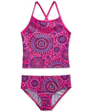 Kanu Surf 2-Pc. Melanie Starburst-Print Tankini Swimsuit, Big Girls (7-16) - Pink 14