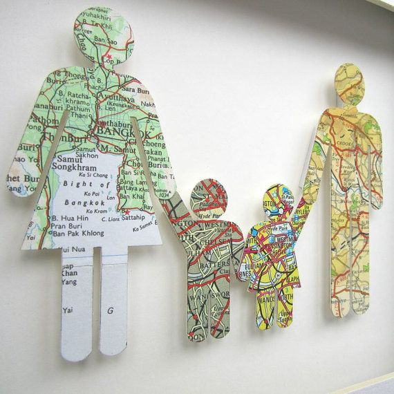 The Origins of your family of four. Vintage Map Figures by  TerrorDome at Etsy.  Each figure is a map of where the person was born.