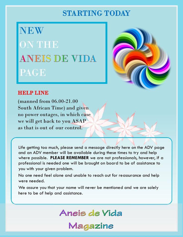 HELPLINE only via Aneis de Vida Facebook page