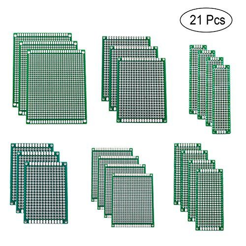 Blinbling 21 Pcs 6 Size Double Sided PCB Board Prototype Kit for DIY  QUANTITY - 21 Pieces double sided PCB board: pre-tinned holes; Material: glass fiber; Thickness: 1.6 mm; Each column and row is clearly labelled to make assembly less error prone. Hole diameter: approx. 1.0 mm; Hole pitch: 2.54 mm; Both sides are soldered uniformly and consistently including plated through holes and pads.  6 DIFFERENT SIZES - 4pcs of 2x8cm, 3x7cm, 4x6cm, 3pcs of 5x7cm, 6x8cm, 7x9cm size board which i...