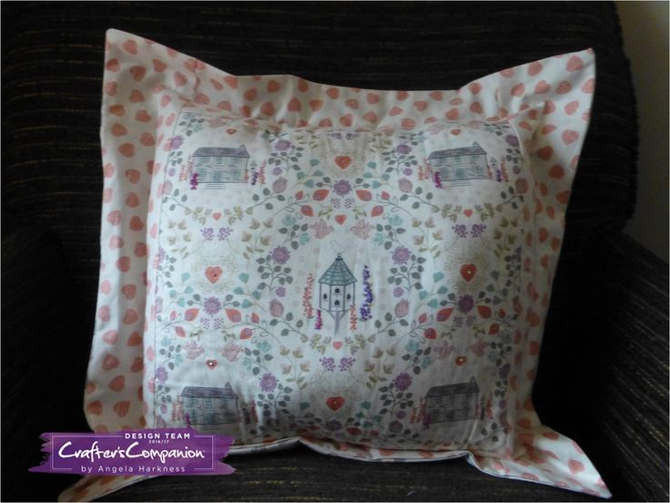 Embellished cushion made using Lewis and Irene Dove House fabric #crafterscompanion