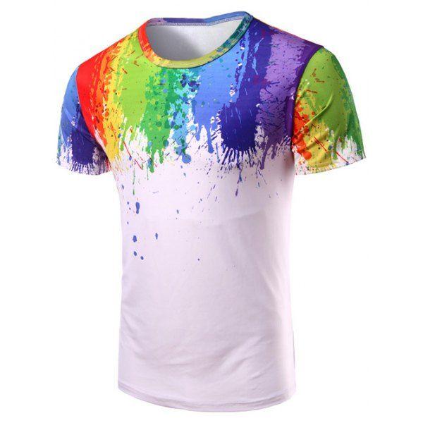 $10.99 Round Neck 3D Splash-Ink Print Short Sleeve T-Shirt For Men