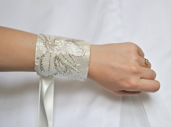 Hand Beaded Ivory Bridal Cuff  'The Pearl of by jogeorgedesigns, £34.99