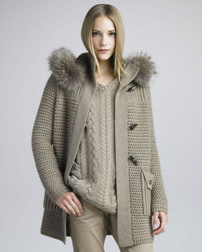 Great sweaters from Loro Piana Loro Piana Fur-Trimmed Knit Coat, Desert Rose