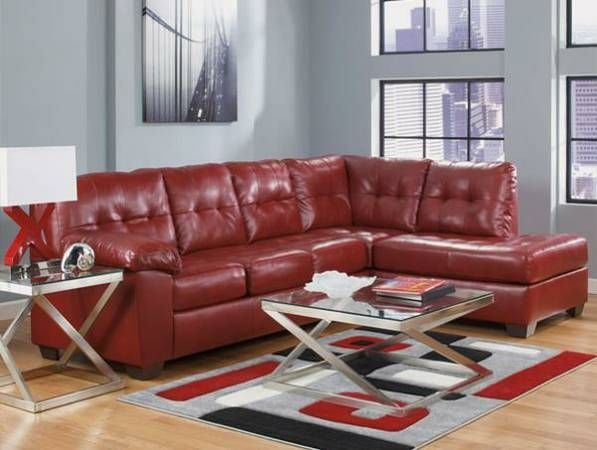 Red leather couch playroom Pinterest