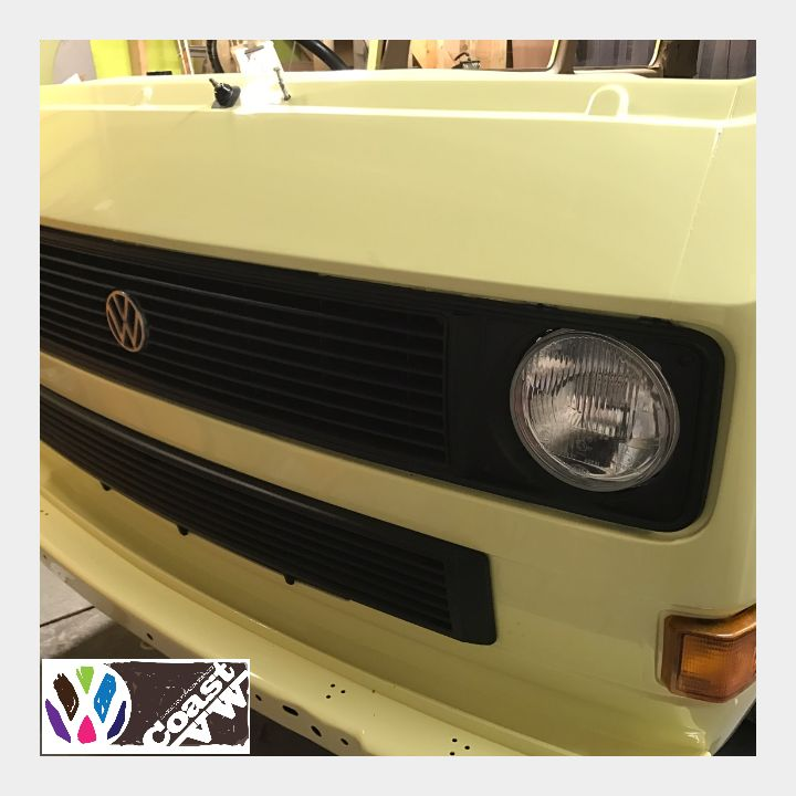 Rebuild continues for this VW T3 Early Caravelle. Its had a custom pale yellow paint which was mixed especially for this build. This image shows the front end build coming along nicely.