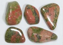Unakite     Unakite is an igneous rock that contains mostly green epidote and pink orthoclase, but with minor amounts of quartz and other minerals. It is often polished to produce an interesting gemstone. The stones shown here were produced from material mined in South Africa. Shop for Unakite.