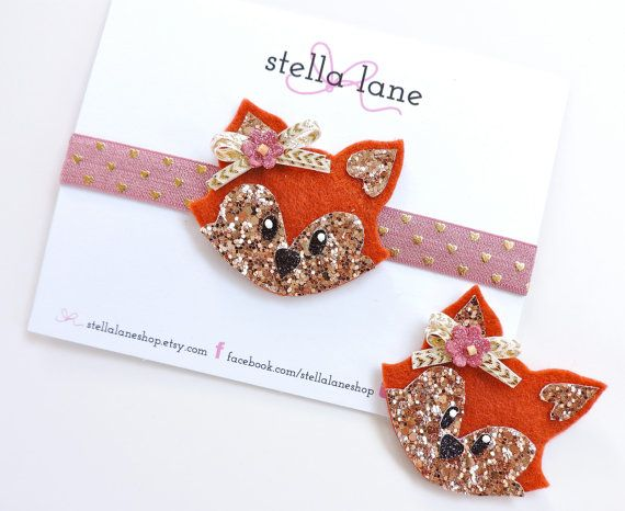 Woodland fox headband and clip https://www.etsy.com/listing/243612360/woodland-glitter-and-felt-fox-headband