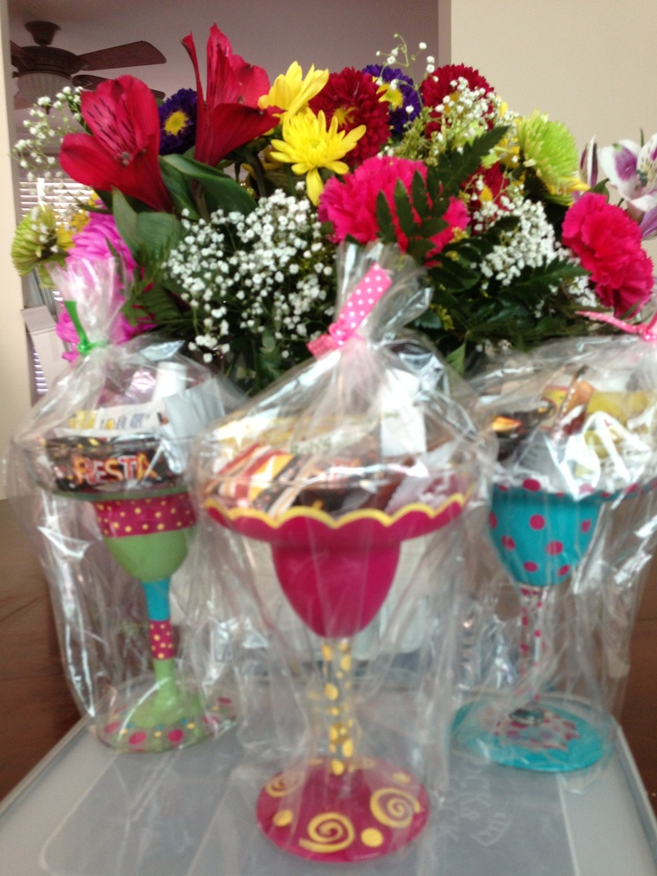 I could make these Dollar Tree Margarita glasses painted and filled w candy Fiesta party