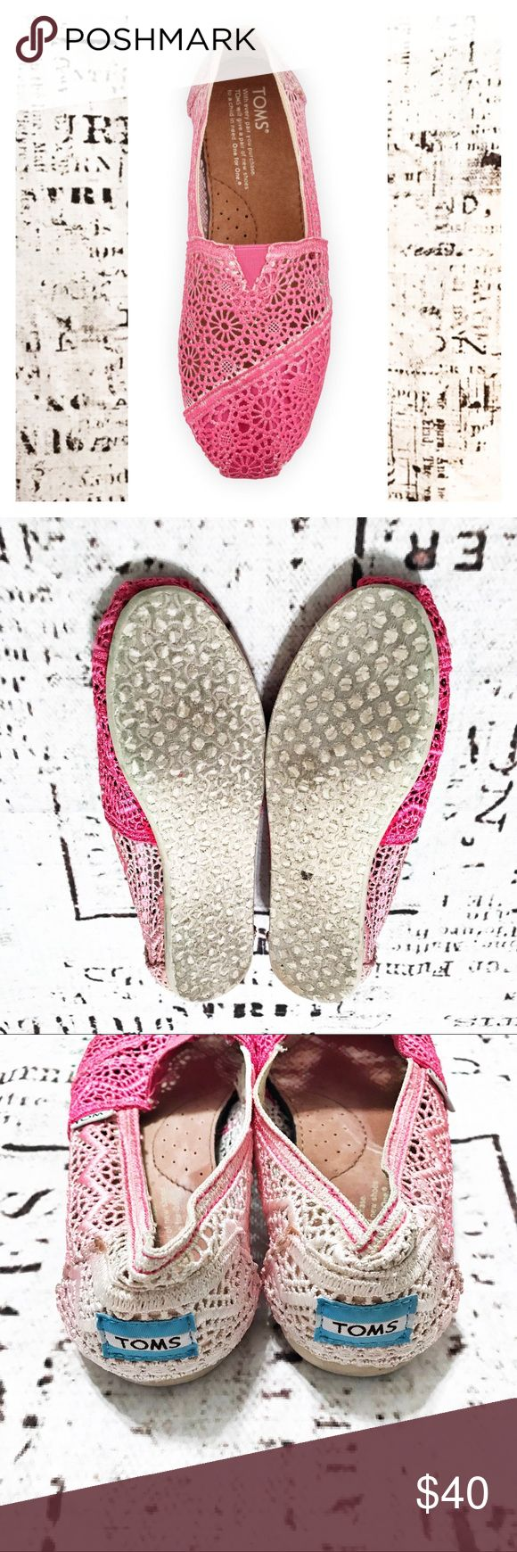 Toms Crochet Ombré Slip Ons Fuschia Pink Cream These Toms are a beautiful open crochet pattern starting in a deep fuschia pink at the toe and fading to a soft cream at the heel. Shoes show signs of wear on the soles, but uppers are in excellent condition. Beautiful shoes! Toms Shoes Flats & Loafers