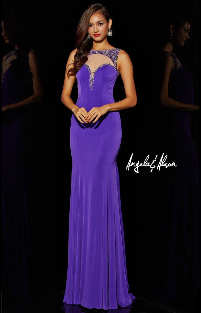 Style 51013 Sweetheart illusion neckline with beaded details with a jersey fabric.   Prom, homecoming, pageants and formal