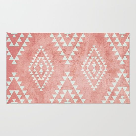 mint & coral tribal pattern (2) Rug by Dani. Worldwide shipping available at Society6.com. Just one of millions of high quality products available.