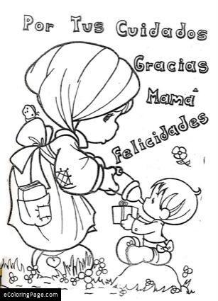 Feliz Dia Del Madre Gracias Mama Colorear Dibujo