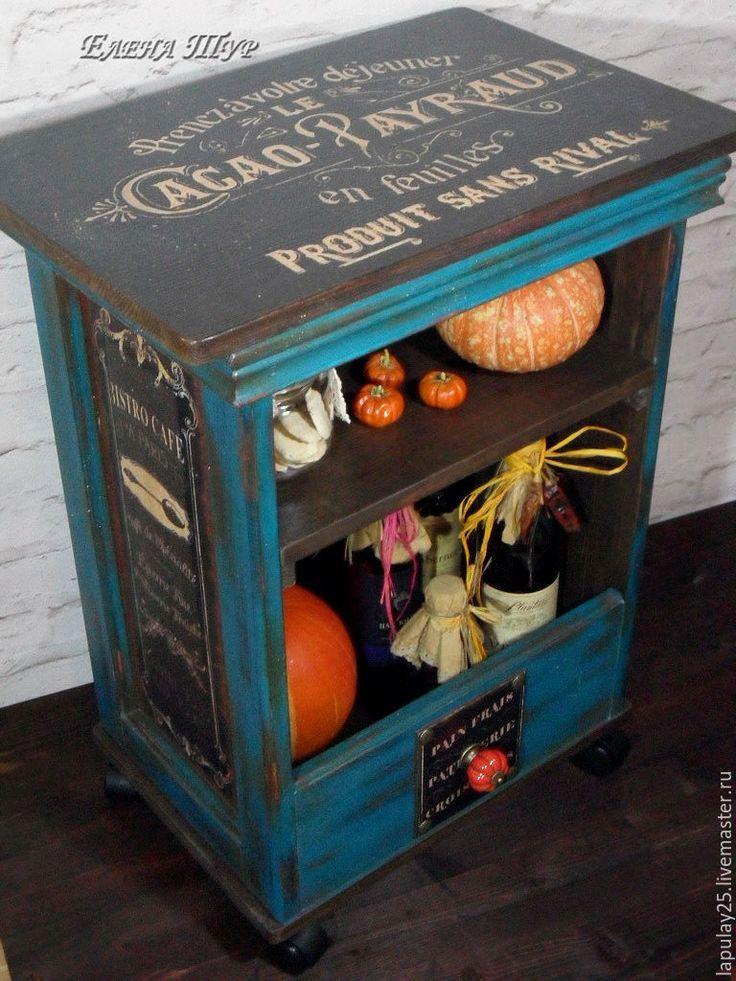 """Купить """"Французское кафе"""" тумба-консоль на колесах - комбинированный, тумба, консоль, столик, для кухни"""