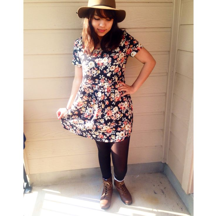 floral baby doll dress with black tights and brown boots