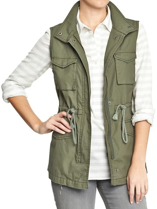 Women's Canvas Drawstring Vests Product Image