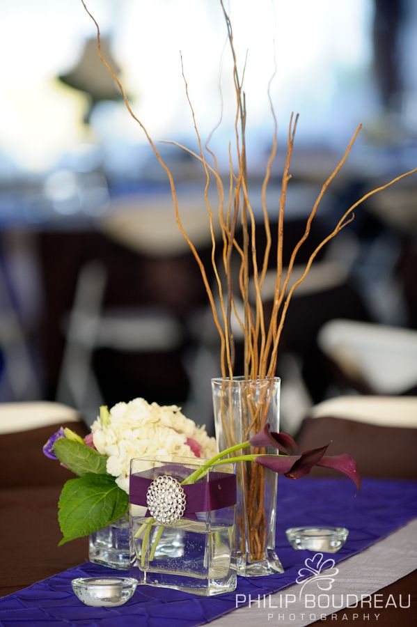 DIAMOND -  3 vases with individual stems of hydrangea, callas, and curly willow