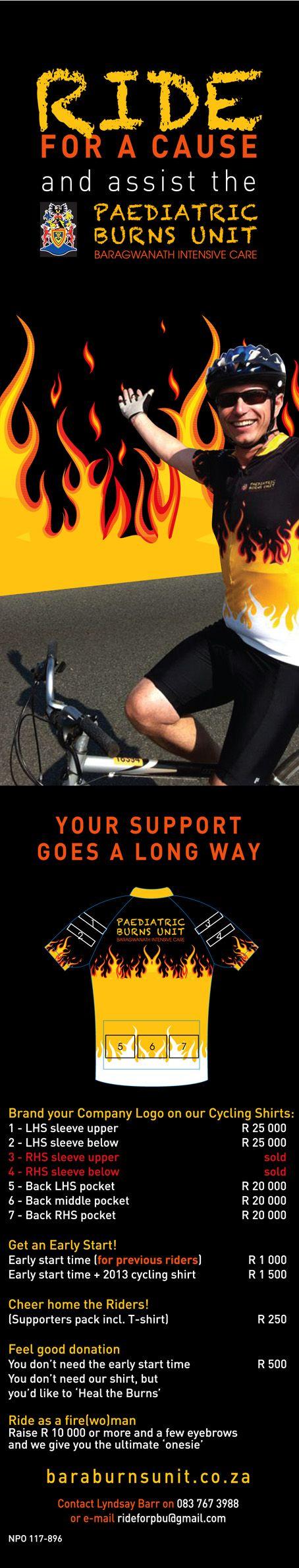 Ride for a cause - Bara Paediatric Burns Unit.  #MTB #Cycling #mountainbike