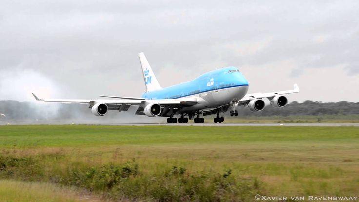 KLM landing at Pengel airport in Paramaribo, Surinam.