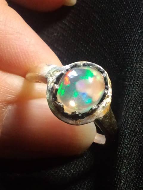 ウォーターオパールリング・シルバー金箔貼 water opal ring silver/goldFilled