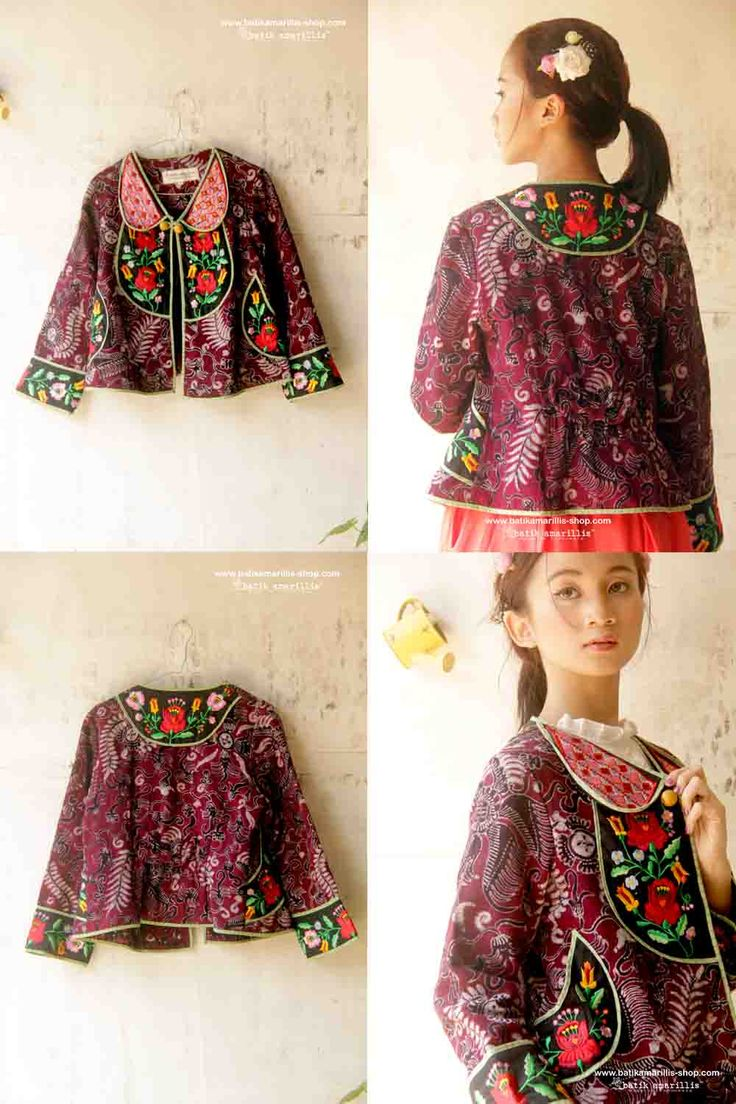 <3 Batik Amarillis's Petit Bon Bon Jacket 2015 <3 made in Tenun Batik gedog  Tuban of Indonesia & Hungarian embrodeidry...lovely & fun! is how to describe Batik Amarillis's Petit Bon Bon Jacket ,accented with yoke,cute croissant pockets,pretty bow and a little flared peplum at the back!